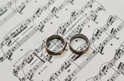 2 обручального кольца на примечаниях Стоковые Изображения RF