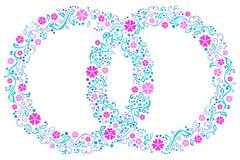 2 обручального кольца с цветками Стоковое Фото