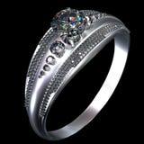 Обручальное кольцо белого золота с самоцветом диаманта Стоковые Изображения