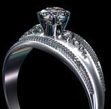 Обручальное кольцо белого золота с самоцветом диаманта Стоковое Изображение
