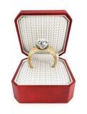 Обручальное кольцо в коробке Стоковые Изображения