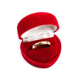 Обручальное кольцо в красной коробке Стоковая Фотография
