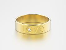 обручальное кольцо желтого золота иллюстрации 3D с диамантом и lov Стоковое Изображение