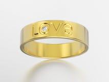 обручальное кольцо желтого золота иллюстрации 3D с диамантом и lov Стоковые Фотографии RF