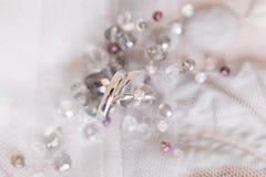 Обручальные кольца белого золота и angage звенят Стоковое Изображение