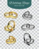 Обручальные кольца вектора золота изолированные на trasparent предпосылке также вектор иллюстрации притяжки corel Элементы пригла Стоковые Изображения RF