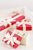 Обручальные кольца в подарочной коробке Стоковые Изображения