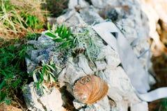 Обручальные кольца на камне и оливковой ветке Ювелирные изделия свадьбы Стоковая Фотография