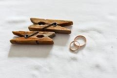 Обручальные кольца на пне Стоковые Фотографии RF