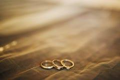 Обручальные кольца новобрачных Кольца золота захвата Стоковые Фотографии RF