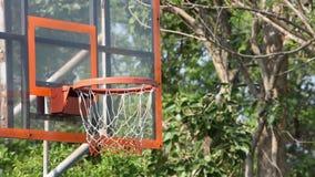 Обручи и сети баскетбола тряся шарик упали деревья предпосылки в парке акции видеоматериалы