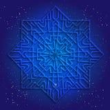 Обрядовый дизайн геометрии 3d Мандала, арабеска на темносинем космическом небе Стоковое фото RF