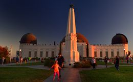 Обсерватория Голливуда на заходе солнца Стоковое Изображение RF