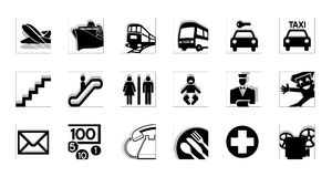 Обслуживайте установленные иконы черн-белыми переверните иллюстрация штока