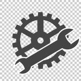 Обслуживание вектора оборудует значок на прозрачной предпосылке иллюстрация вектора