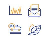 Обслуживание диаграмма, 24h линии и корреспонденция почты набор значков знак лист вектор иллюстрация вектора