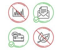 Обслуживание диаграмма, 24h линии и корреспонденция почты набор значков Знак лист r бесплатная иллюстрация