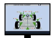 обслуживание замены масла автомобиля шара поднятое подъемом Изображение схемы автомобиля с датчиками на колесах на мониторе компь Стоковое Изображение RF