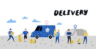Обслуживание поставки, плакат индустрии груза, знамя Характеры курьера Почтовые работники в форме с пакетами иллюстрация штока