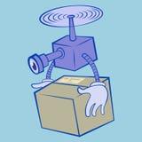 Обслуживание поставки трутня Удаленный трутень воздуха заботя летание коробки изолированное в голубой предпосылке Плоский вектор  иллюстрация вектора