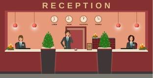 обслуживание приема Желанные гости работников гостиницы на их рабочем месте с рождеством конструируют бесплатная иллюстрация
