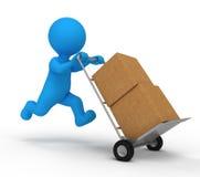 обслуживание работника доставляющего покупки на дом иллюстрация вектора