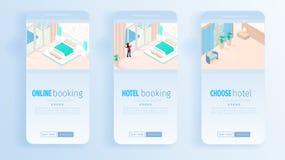 Обслуживания гостиницы онлайн записывая для знамен каникул иллюстрация вектора