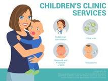 Обслуживания клиники детей Иллюстрация вектора плоская иллюстрация штока
