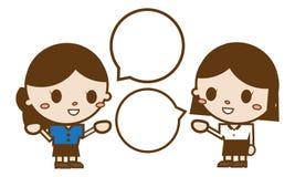Обсуждать 2 девушек Иллюстрация штока