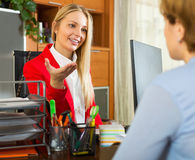 Обсуждать клерка и клиента женщины Стоковая Фотография RF
