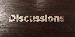 Обсуждения - grungy деревянный заголовок на клене - представленное 3D изображение неизрасходованного запаса королевской власти Стоковые Фотографии RF