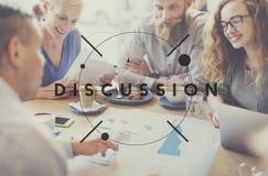 Обсудите концепцию дискуссии переговоров обсуждения говоря Стоковое Изображение