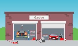 Обслуживайте гараж магазина иллюстрация вектора
