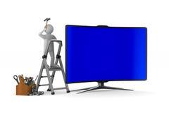 Обслуживайте ТВ на белой предпосылке Изолированная иллюстрация 3d Стоковое Изображение RF