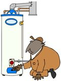 Обслуживайте техника проверяя нагреватель воды Стоковая Фотография RF