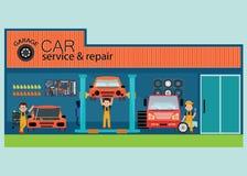 Обслуживание автомобиля и центр или гараж ремонта с работником иллюстрация штока