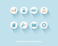 Обслуживание автомобиля infographic при плоские установленные значки иллюстрация вектора