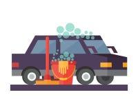 обслуживание замены масла автомобиля шара поднятое подъемом Мытье руки и чистка перехода Стоковое Фото