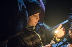 Обслуживание пасхи в православной церков церков в зоне Kaluga России Стоковые Изображения RF