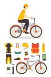 Обслуживание предприятий носильщика мелких грузов и велосипеда вектор Стоковые Фотографии RF