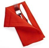Обслуживание салфетки ножа вилки Стоковые Изображения RF