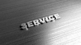 Обслуживание слова металла на стальной предпосылке Литерность для магазина автомобиля Стоковое фото RF