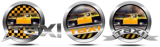 Обслуживание такси - металлические символы иллюстрация штока