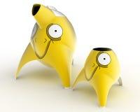 Обслуживание ` s детей чая и кофе конструировало в форме персонажей из мультфильма стилизованных для различных животных 3d Стоковая Фотография RF