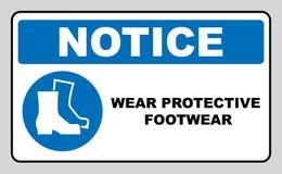Обувь безопасности носки Защитные ботинки безопасности необходимо нести, необходимый знак, иллюстрация вектора Стоковые Изображения