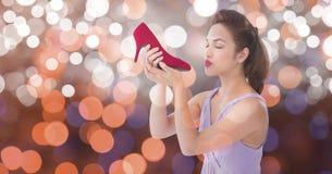 Обувь молодой женщины целуя новая над bokeh Стоковая Фотография RF