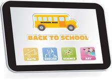 Обучение по Интернетуу, назад к школе, кнопки иллюстрация вектора