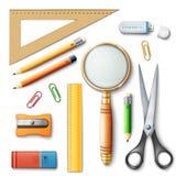 Обучите инструменты для учить, карандаша, правителей и резины Стоковая Фотография RF