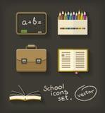 Обучите плоские портфель и классн классный карандаша книги значков Стоковые Изображения RF