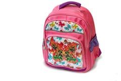 Обучите рюкзак для девушки на белой предпосылке Стоковые Изображения RF